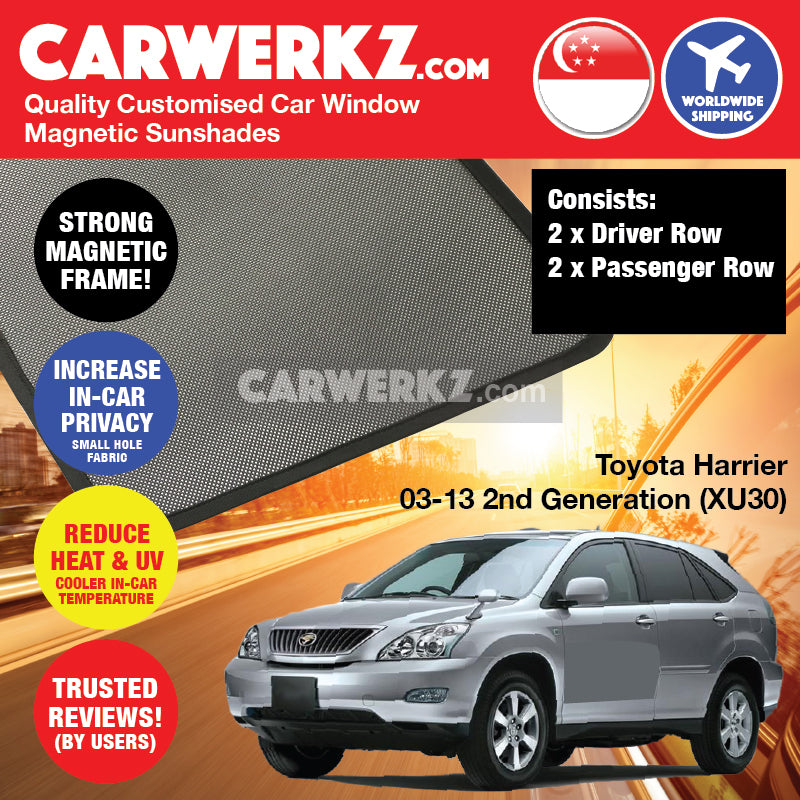 Toyota Harrier 2003-2013 2nd Generation (XU30) Japan SUV Customised Car Window Magnetic Sunshades - CarWerkz