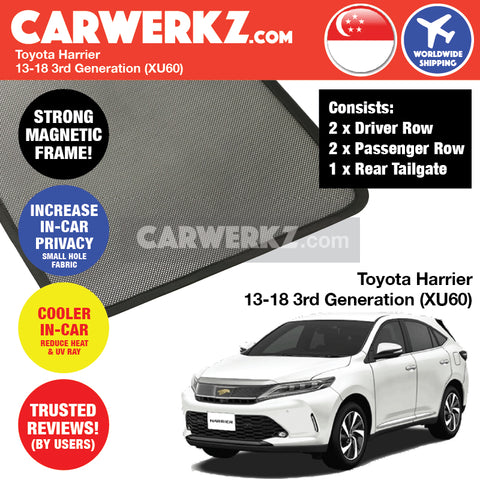 Toyota Harrier SUV Sport Utility Vehicles Car Accessories 2013 2014 2015 2016 2017 2018 3rd Generation (XU60) Customised Car Window Magnetic Sunshades 4 Pieces + 1 Piece Rear Tailgate