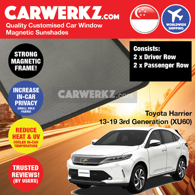 Toyota Harrier 2013 2014 2015 2016 2017 2018 2019 3rd Generation (XU60) Japan SUV Customised Car Window Magnetic Sunshades - carwerkz sg my au
