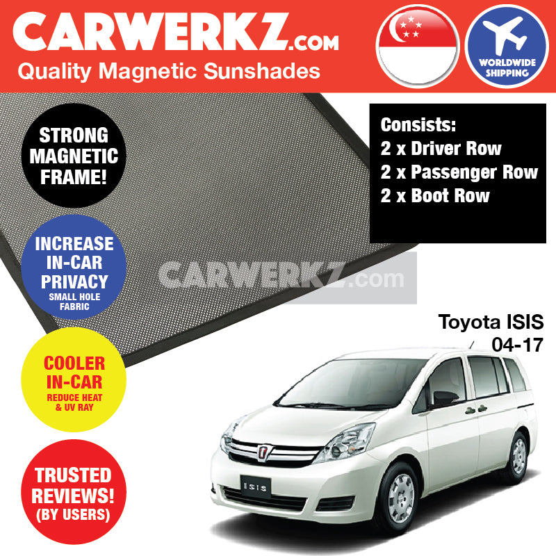 Toyota ISIS 2004-2017 (AM10) Customised Japanese Wagon MPV Car Window Magnetic Sunshades - CarWerkz
