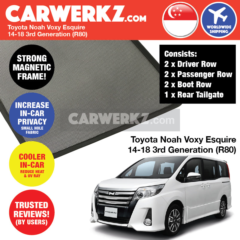 Toyota Noah Voxy Esquire 2014 2015 2016 2017 2018 3rd Generation (R80) Customised Car Window Magnetic Sunshades 6 Pieces + 1 Rear Tailgate FULL SET