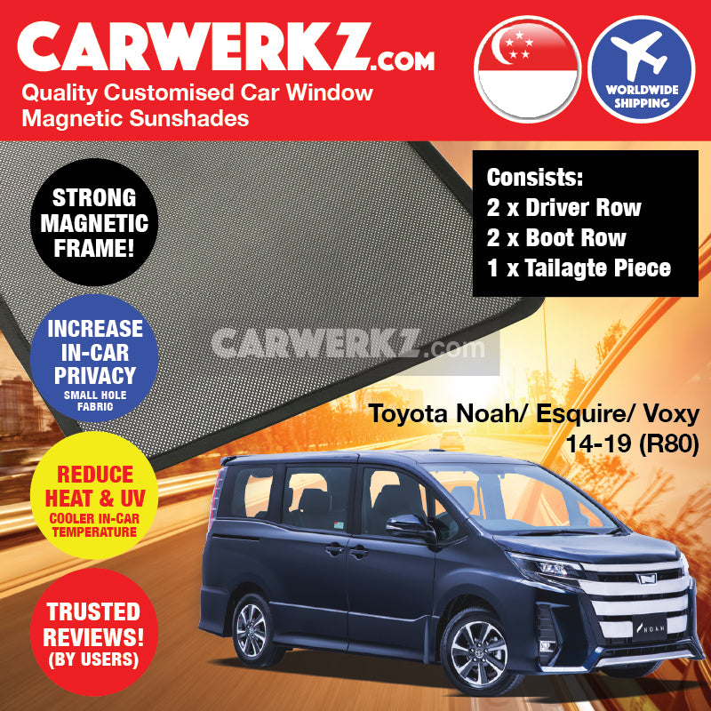 Toyota Noah Voxy Esquire 2014-2019 3rd Generation (R80) Japan MPV Customised Car Window Magnetic Sunshades 4 Pieces (Driver & Boot) + Rear Boot Tailgate Sunshade 1 Piece - CarWerkz