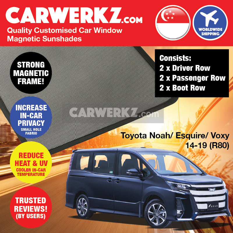 Toyota Noah Voxy Esquire 2014 2015 2016 2017 2018 2019 3rd Generation (R80) Japan MPV Customised Car Window Magnetic Sunshades - carwerkz sg au my