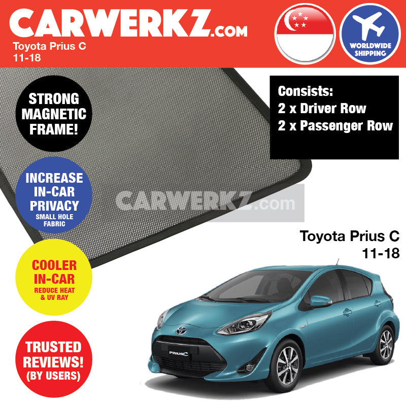 Toyota Prius C Hatchback 2011-2018 Customised Car Window Magnetic Sunshades - CarWerkz