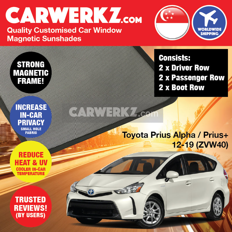 Toyota Prius Alpha Prius V Prius+ 2012 2013 2014 2015 2016 2017 2018 2019 (ZVW40) Japan MPV Customised Car Window Magnetic Sunshades 6 Pieces - carwerkz sg au my