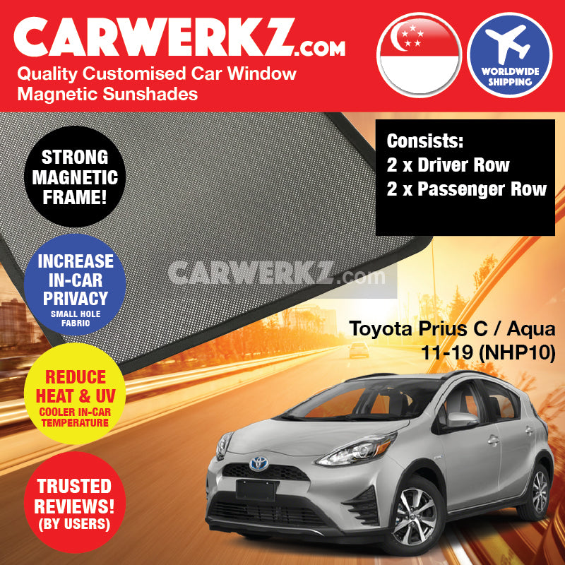 Toyota Prius C Aqua 2011 2012 2013 2014 2015 2016 2017 2018 2019 (NHP10) Japan Hybrid Hatchback Customised Car Window Magnetic Sunshades 4 Pieces - carwerkz sg au my