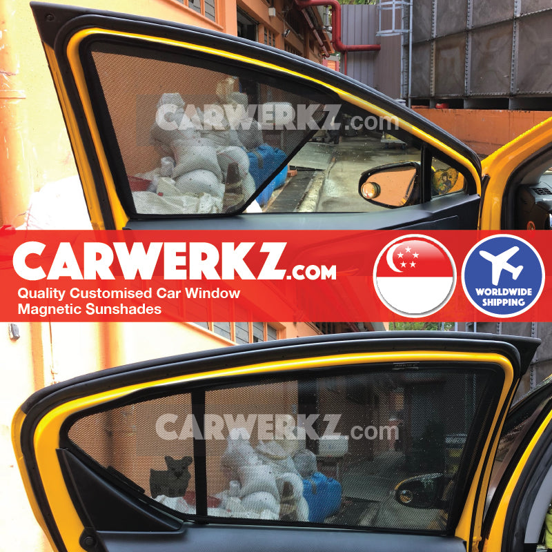 Toyota Prius C Aqua 2011 2012 2013 2014 2015 2016 2017 2018 2019 (NHP10) Japan Hybrid Hatchback Customised Car Window Magnetic Sunshades 4 Pieces installed fitting photos - carwerkz sg au my