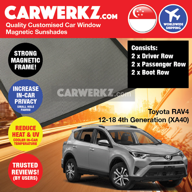 Toyota Rav4 2012 2013 2014 2015 2016 2017 2018 4th Generation (XA40) Japan Compact Crossover SUV Customised Magnetic Sunshades 6 Pieces -carwerkz sg au pl my