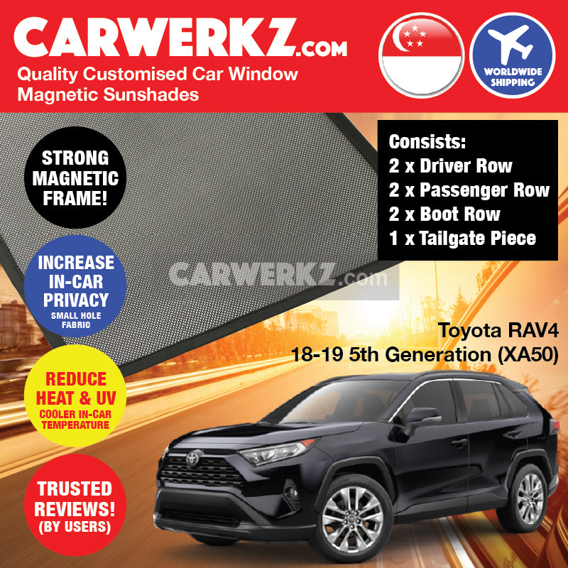 Toyota RAV4 2018-2019 5th Generation (XA50) Customised Japan SUV Window Magnetic Sunshades 6 Pieces + Tailgate 1 Piece FULL SET - carwerkz sg jp de uk au nz