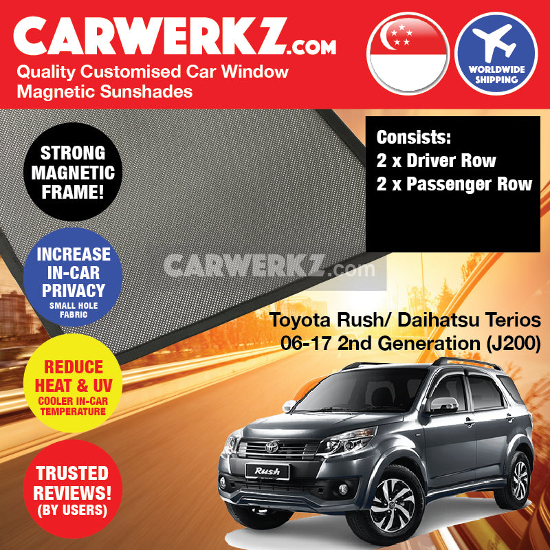 Toyota Rush 2006-2017 (J200) 2nd Generation Japan SUV Customised Car Window Magnetic Sunshades - CarWerkz