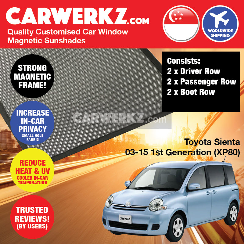 Toyota Sienta 2003 2004 2005 2006 2007 2008 2009 2010 2011 2012 2013 2014 2015 1st Generation XP80 Japan Mini MPV Customised Car Window Magnetic Sunshades - carwerkz sg au my