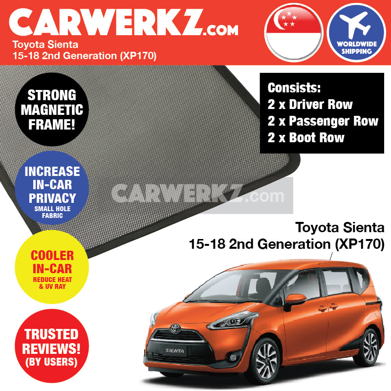 Toyota Sienta 2015-2017 2nd Gen XP170 Magnetic Sunshades - CarWerkz
