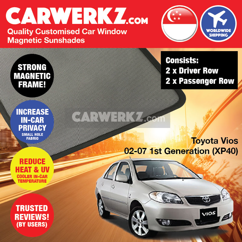Toyota Vios 2002-2007 1st Generation (XP40) Japan Sedan Customised Car Window Magnetic Sunshades