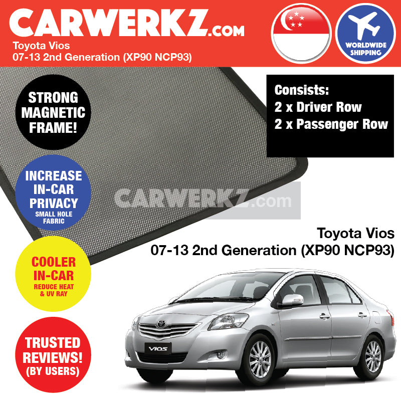 Toyota Vios 2007-2013 2nd Generation (XP90 NCP93) Magnetic Sunshades - CarWerkz