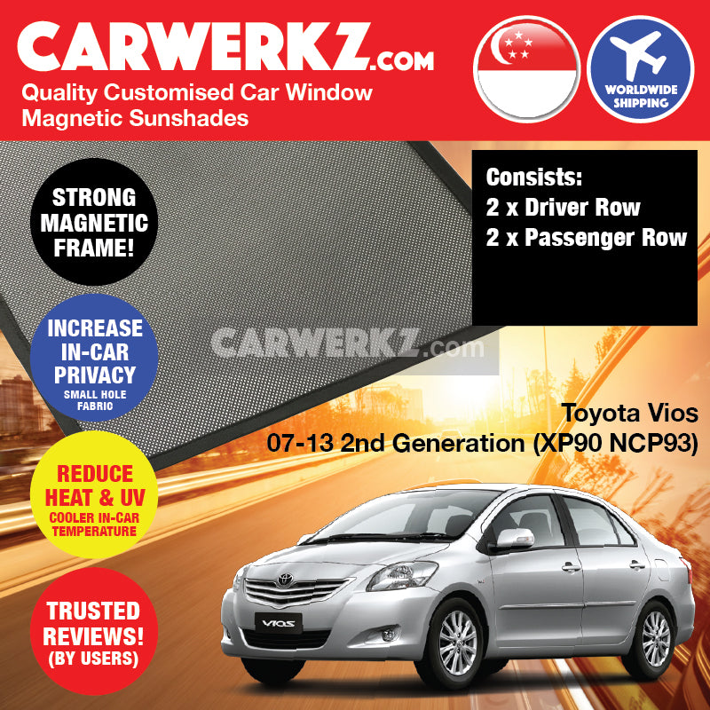 Toyota Vios 2007 2008 2009 2010 2011 2012 2013 2nd Generation (XP90 NCP93) Japan Sedan Customised Car Window Magnetic Sunshades - carwerkz sg au my