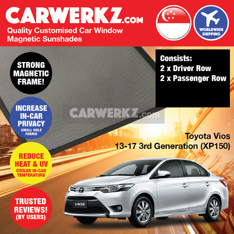 Toyota Vios 2013 2014 2015 2016 2017 3rd Generation (XP150) Japan Sedan Customised Car Window Magnetic Sunshades - carwerkz sg my au