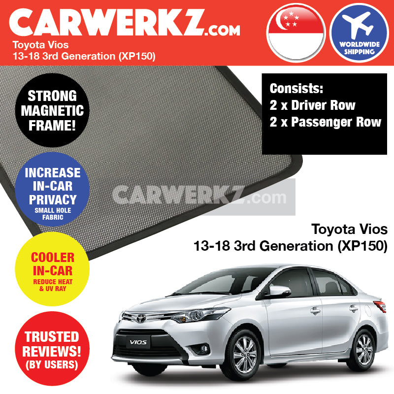 Toyota Vios 2013-2017 3rd Generation (XP150) Magnetic Sunshades - CarWerkz