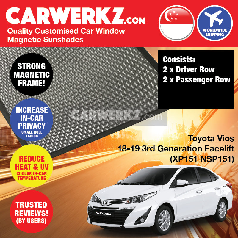 Toyota Vios 2018-2020 3rd Generation Facelift (XP151 NSP151) Japan Sedan Customised Magnetic Sunshades - CarWerkz