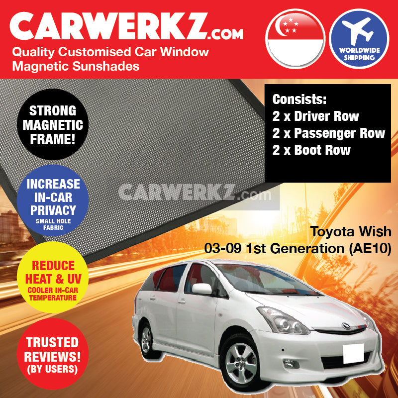 Toyota Wish 2003-2009 1st Generation (AE10) Japan Compact MPV Customised Car Window Magnetic Sunshades - CarWerkz