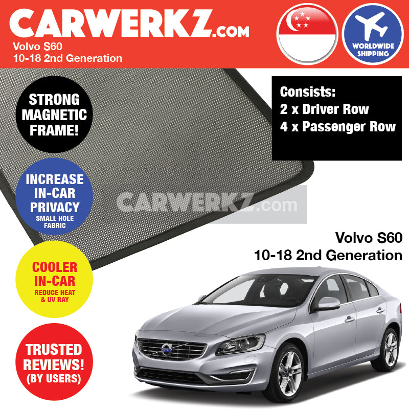 Volvo S60 2010-2018 2nd Generation Sweden Luxury Sedan Customised Car Window Magnetic Sunshades 6 Pieces - CarWerkz