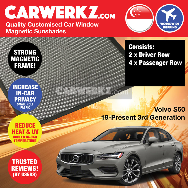 Volvo S60 2019 2020 2021 3rd Generation Sweden Luxury Sedan Customised Car Window Magnetic Sunshades 6 Pieces - carwerkz com singapore sweden australia