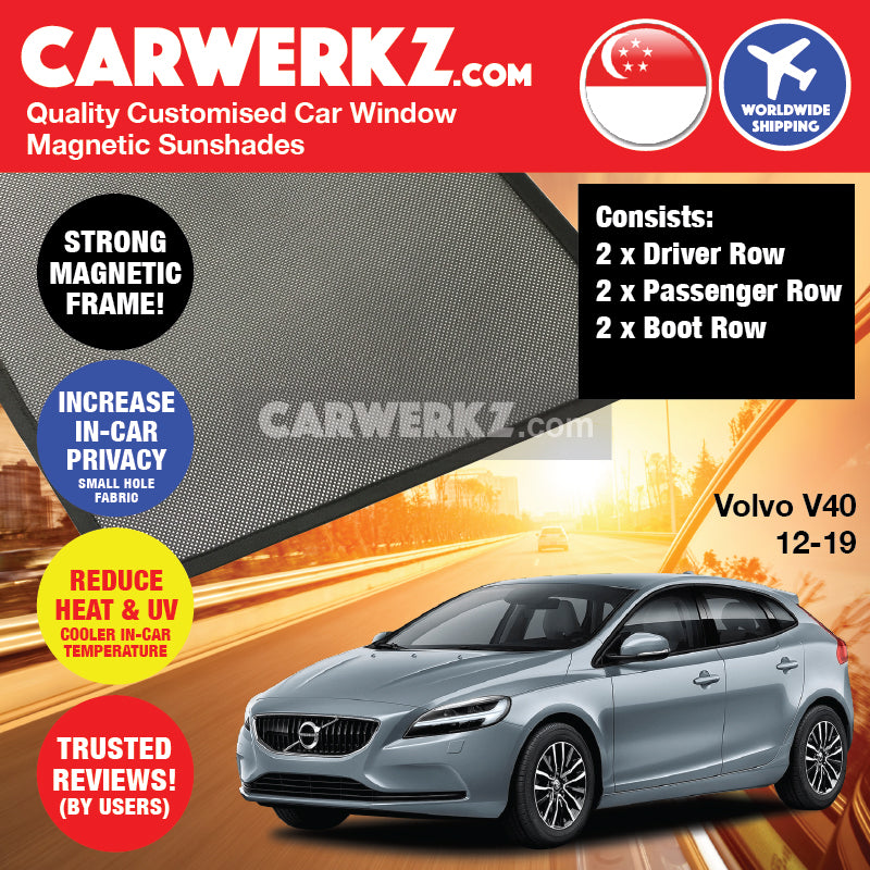 Volvo V40 2012 2013 2014 2015 2016 2017 2018 2019 Sweden Hatchback Customised Car Window Magnetic Sunshades 6 Pieces - drshadez sg au my autobacs オートバックス