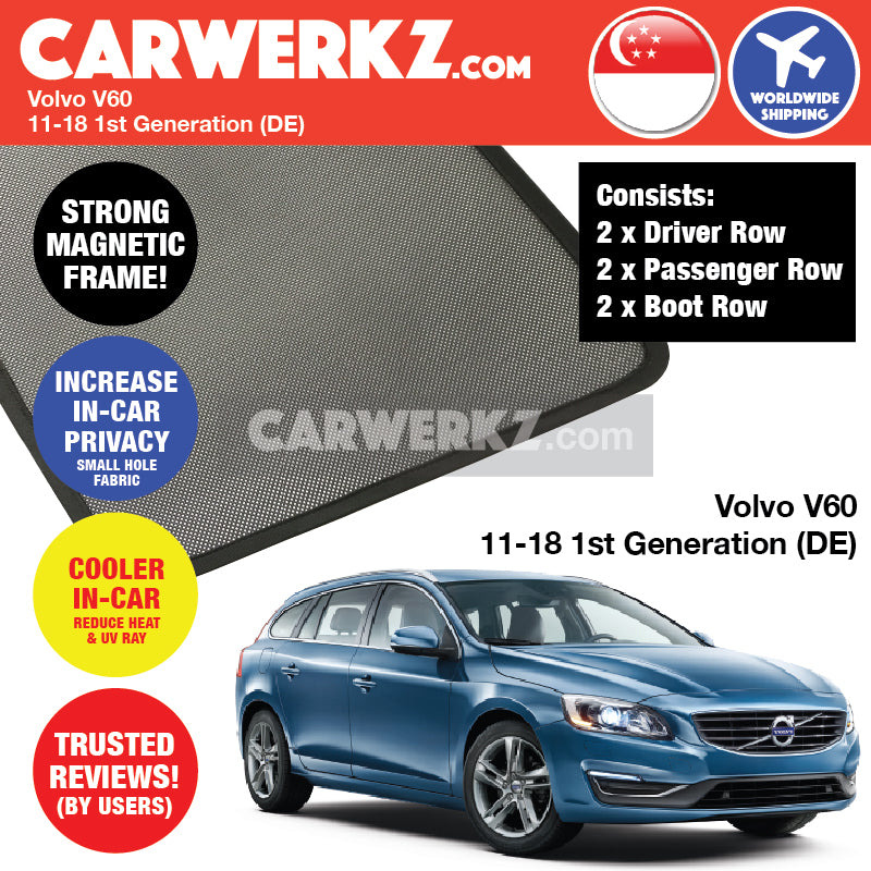 Volvo V60 2010-2018 1st Generation (DE) Sweden Wagon Customised Car Window Magnetic Sunshades 6 Pieces - CarWerkz
