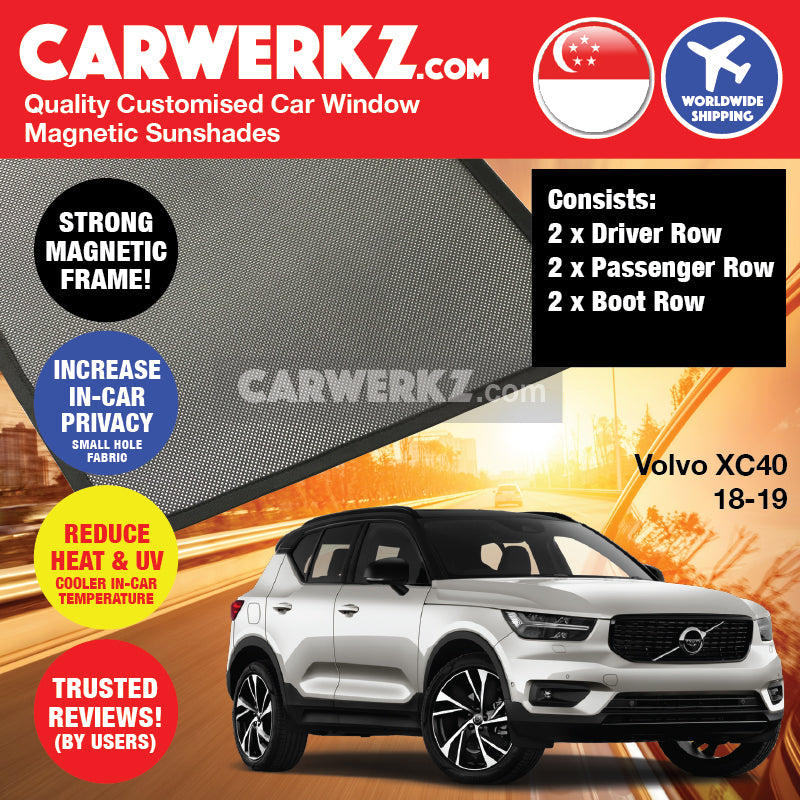 Volvo XC40 2017-2020 1st Generation Sweden Subcompact Luxury Crossover SUV Customised SUV Window Magnetic Sunshades - CarWerkz