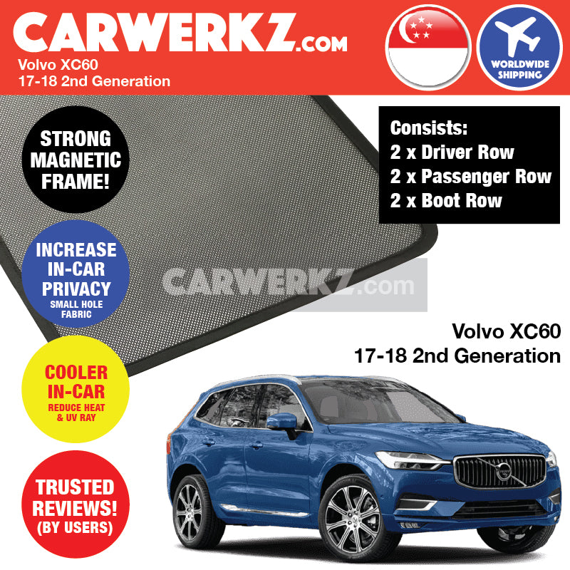 Volvo XC60 2017-2019 2nd Generation Sweden Crossover SUV Customised Magnetic Sunshades - CarWerkz