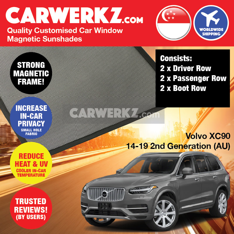Volvo XC90 2014 2015 2016 2017 2018 2019 2nd Generation (AU) Sweden Large Crossover SUV Customised Car Window Magnetic Sunshades 8 Pieces - carwerkz sg se pl de au