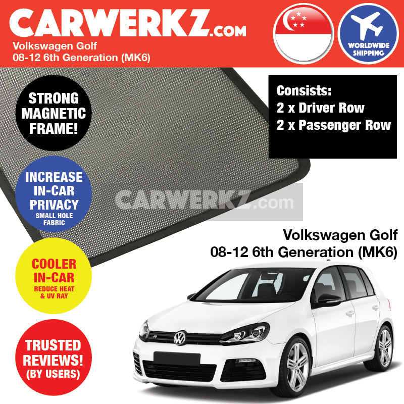 Volkswagen Golf 2008-2012 6th Generation (MK6) Magnetic Sunshades - CarWerkz