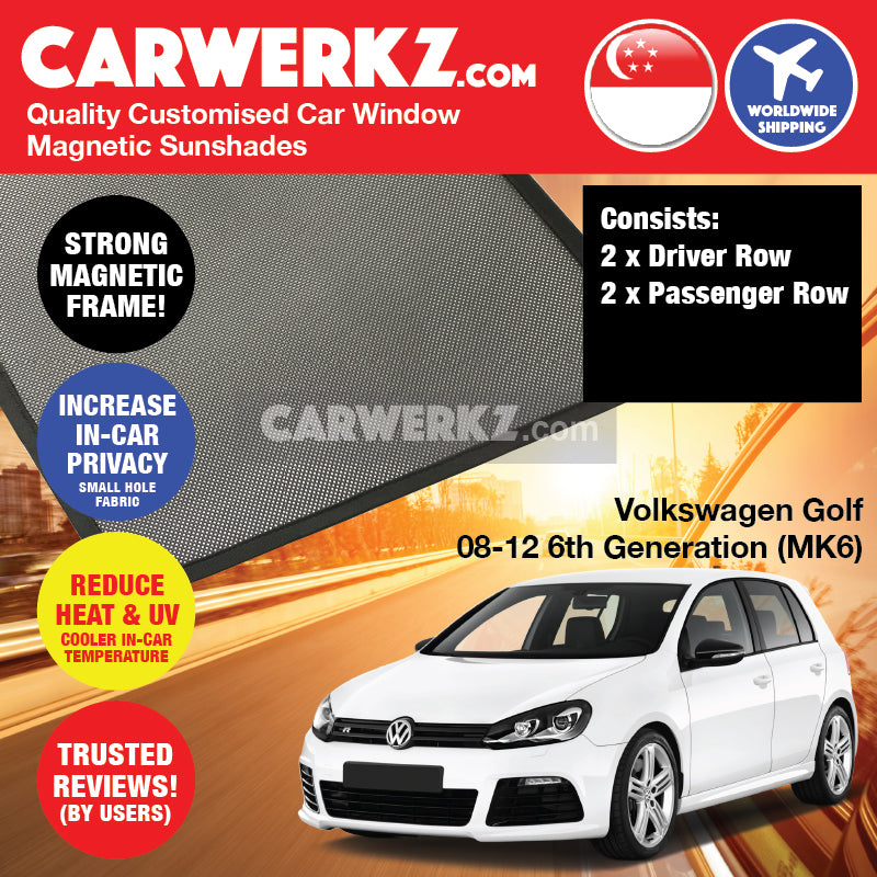 Volkswagen Golf 2008 2009 2010 2011 2012 6th Generation (MK6) Germany Hatchback Customised Car Window Magnetic Sunshades 4 Pieces - carwerkz sg au my