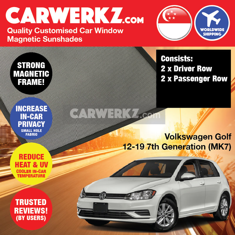 Volkswagen Golf 2012-2019 7th Generation (MK7) Germany Hatchback Customised Car Window Magnetic Sunshades - CarWerkz