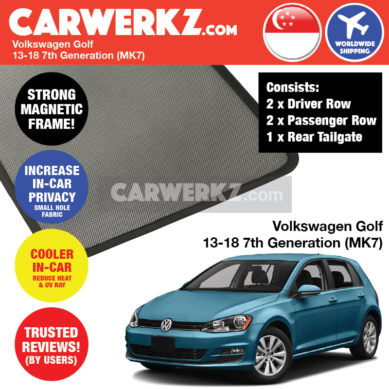 Volkswagen Golf 2012-2019 7th Generation (MK7) Germany Hatchback Customised Car Window Magnetic Sunshades