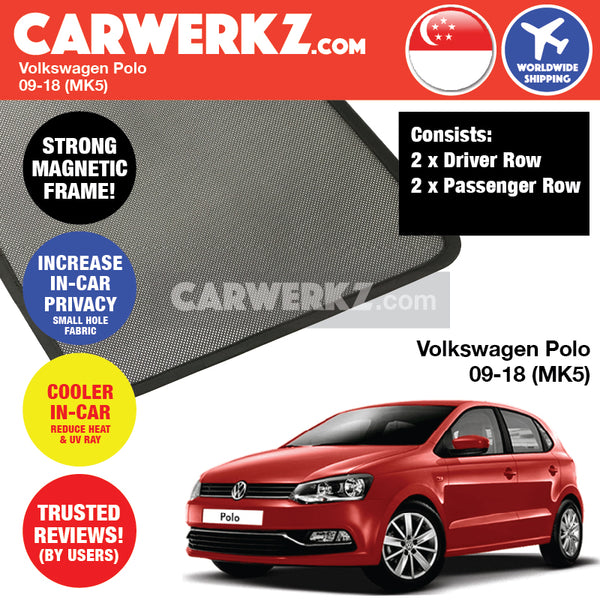 Volkswagen Polo Hatchback 5 Doors Car Assessories 2009 2010 2011 2012 2013 2014 2015 2016 2017 2018 (MK5) Customised Car Window Magnetic Sunshades