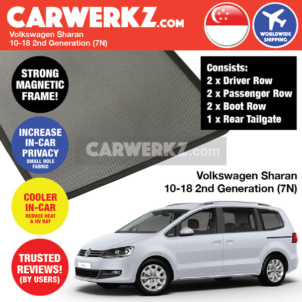 Volkswagen Sharan MPV Multi Purpose Vehicles Car Accessories 2010 2011 2012 2013 2014 2015 2016 2017 2018 2nd Generation (7N) Magnetic Sunshades 6 Piece + Rear Tailgate 1 Piece