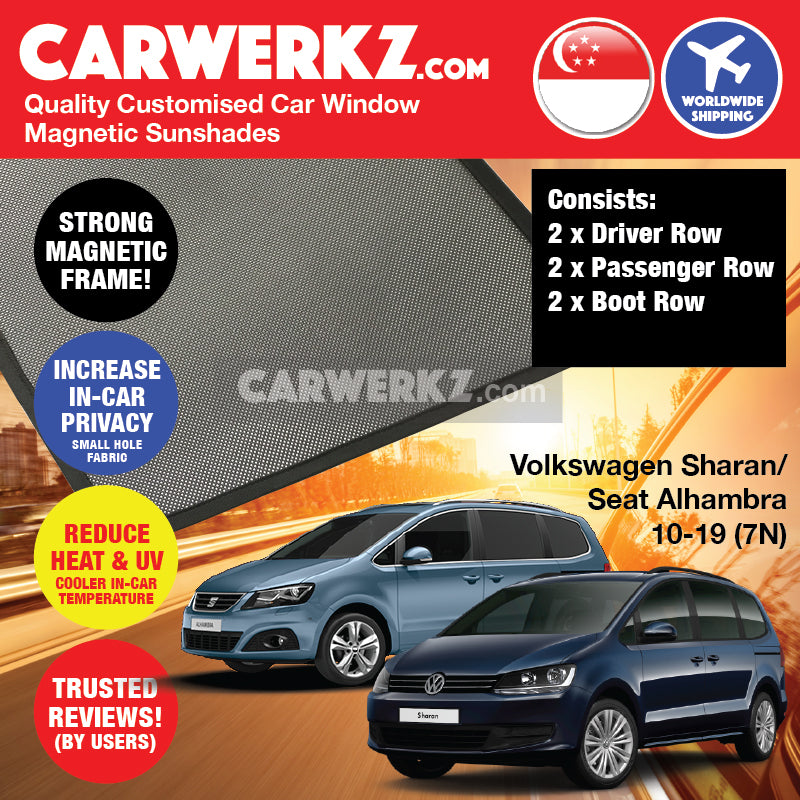 Volkswagen Sharan Seat Alhambra 2010 2011 2012 2013 2014 2015 2016 2017 2018 2019 2nd Generation (7N) Germany MPV Customised Car Window Magnetic Sunshades 6 Pieces - carwerkz sg au my de pl