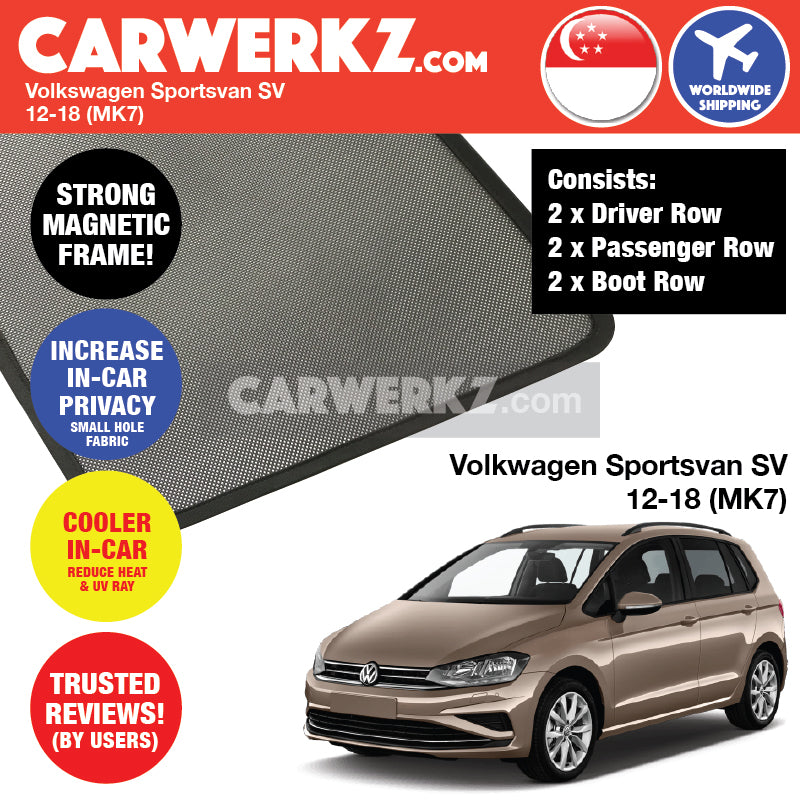 Volkswagen Sportsvan SV 2012-2019 (MK7) Germany Hatchback Customised Car Window Magnetic Sunshades