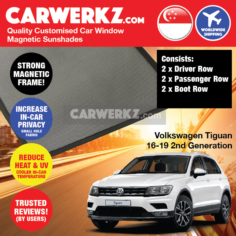 Volkswagen Tiguan 2016-2019 2nd Generation Germany Crossover Customised Car Window Magnetic Sunshades 6 Pieces - CarWerkz