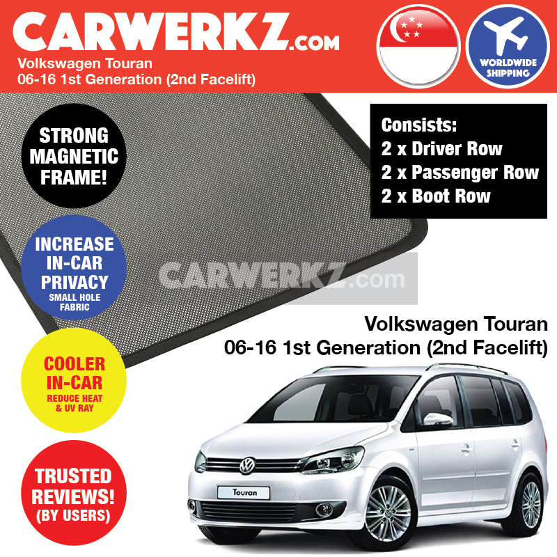 Volkswagen Touran 2006-2016 1st Generation (2nd Facelift) Customised Car Window Magnetic Sunshades 6 Pieces - CarWerkz