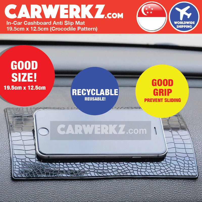 In-Car Dashboard Anti Slip Mat 19.5cm x 12.5cm 001 (Crocodile Pattern) - CarWerkz