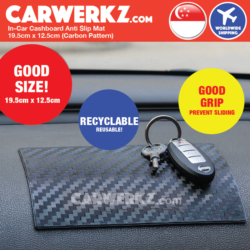 In-Car Dashboard Anti Slip Mat 19.5cm x 12.5cm 002 (Carbon Pattern) - CarWerkz