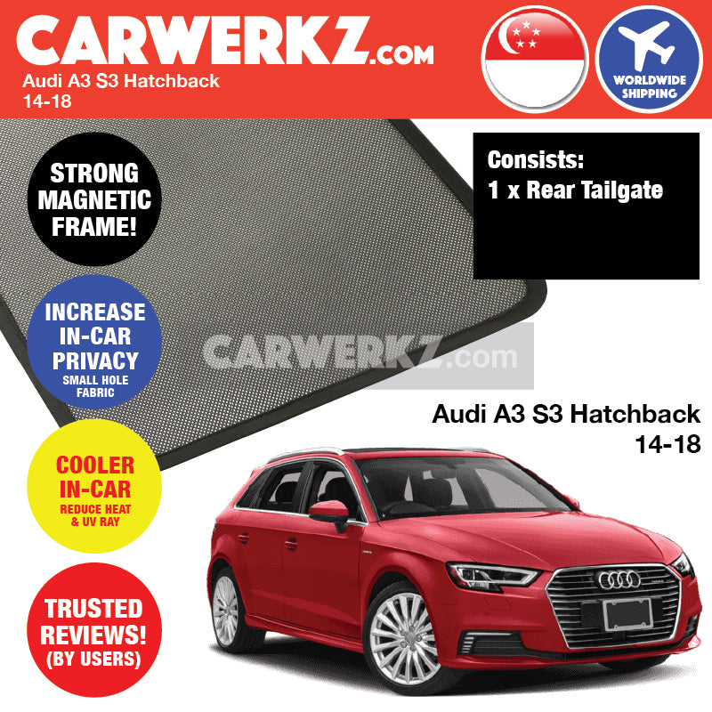 Audi A3 S3 Sportback 2013-2020 3rd Generation (8V) Germany Hatchback Car Customised Magnetic Sunshades 6 Pieces - CarWerkz