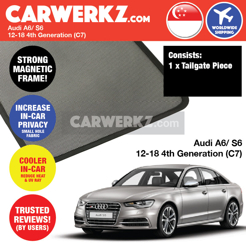 Audi A6 S6 2012-2019 (C7) 4th Generation Customised German Sedan Car Window Rear Tailgate Sunshade 1 Piece - CarWerkz