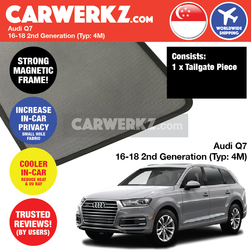 Audi Q7 2016-2018 2nd Generation (Typ 4M) Customised German Luxury SUV Rear Tailgate Sunshade 1 Piece - CarWerkz