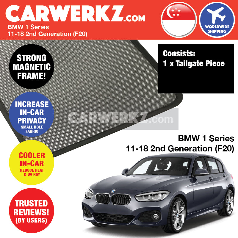 BMW 1 Series 2011-2019 2nd Generation (F20) Customised Luxury German Hatchback Car Window Rear Tailgate Sunshade 1 Piece - CarWerkz