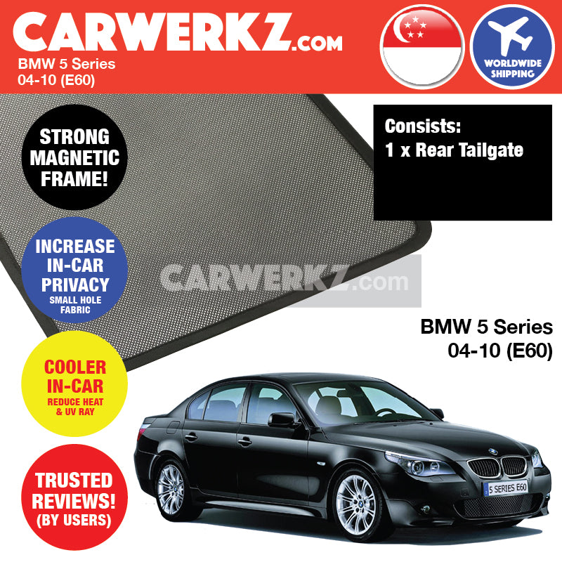 BMW 5 Series 2004-2010 5th Generation (E60) Customised Luxury German Sedan Car Window Rear Tailgate Sunshade 1 Piece - CarWerkz