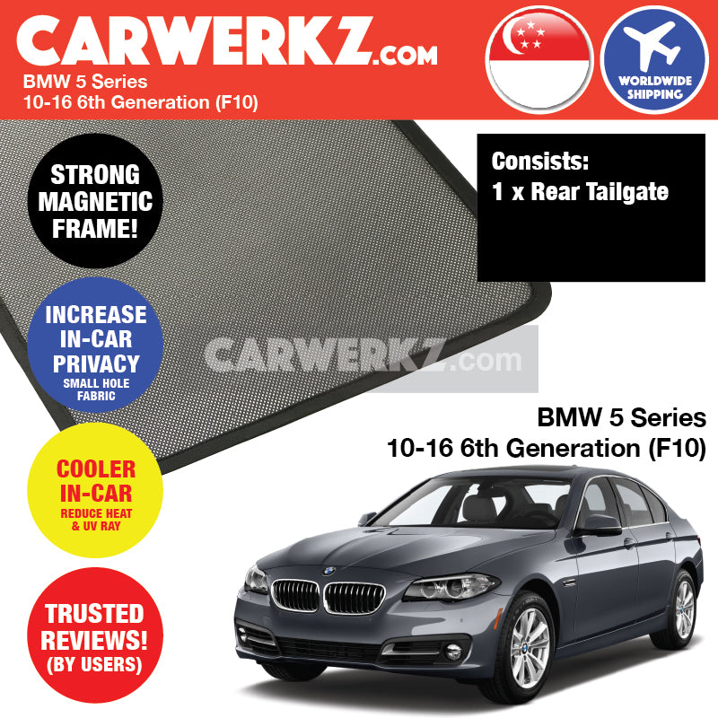 BMW 5 series 2010-2016 6th Generation (F10) Customised Luxury German Sedan Car Window Rear Tailgate Sunshade 1 Piece - CarWerkz