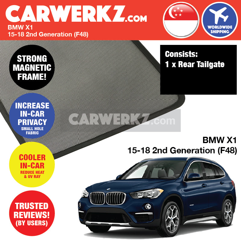 BMW X1 2015-2018 2nd Generation (F48) Customised Car Window Rear Tailgate Sunshade 1 Piece - CarWerkz