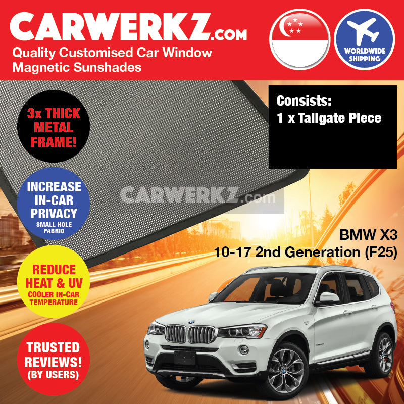 BMW X3 2011-2017 2nd Generation (F25) Customised Luxury Germany Compact SUV Car Window Magnetic Sunshades - CarWerkz